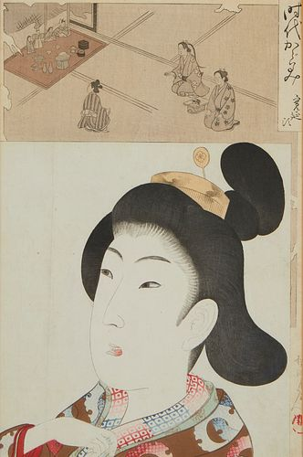 "Grp: 3 Chikanobu ""Mirror of the Ages"" Woodblock Prints"