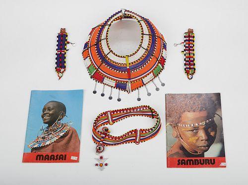 Grp: 4 Maasai Beaded Objects & 2 Books