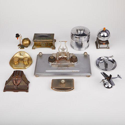 Grp: 9 Arts & Crafts Deco Desk Set & Smoking Accessories