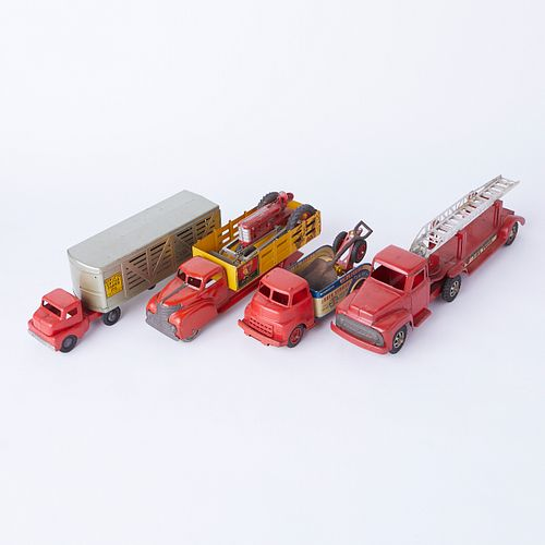Grp: 5 Pressed Steel Trucks & Toy Shovel