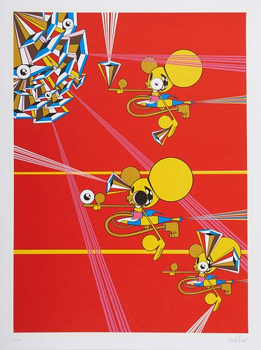 "Grp: 2 Dalek Screenprints - ""Untitled (Decoder Ring)"" & ""Space Monkey Metropark"""