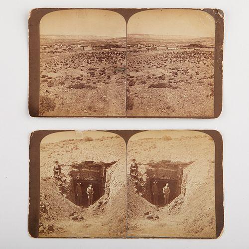 Grp: 2 19th c. Stereoviews of Rock Springs Wyoming Coal Mine