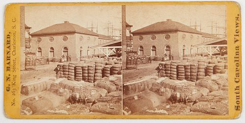 19th c. Stereoview of the Cotton Exchange Charleston SC