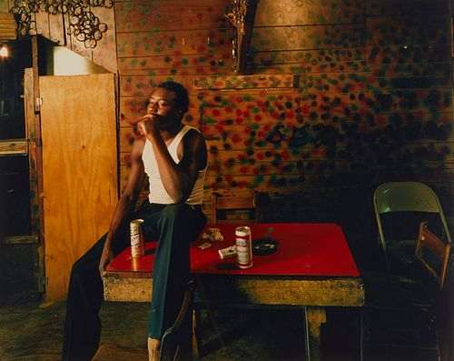 Birney Imes Photograph Man on Red Table