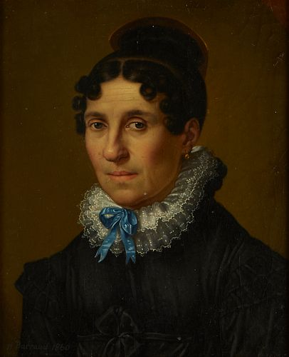 Henry Barraud Portrait of Woman Oil on Board