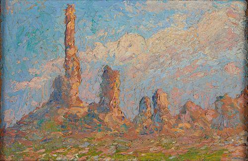 Style of Birger Sandzen Landscape Oil on Board