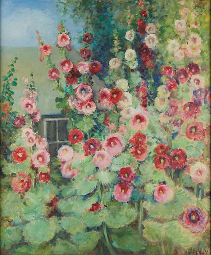 Alice Hugy Flowers and House Oil on Board