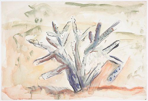 B. J. O. Nordfeldt Cactus Watercolor Painting