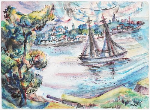 Nathaniel Dirk Sailing Ship Watercolor