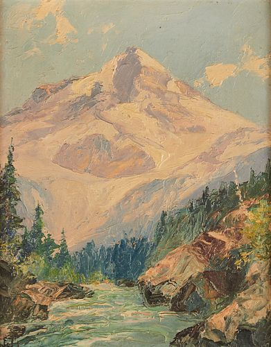 Mountain Landscape Oil on Board Holmes