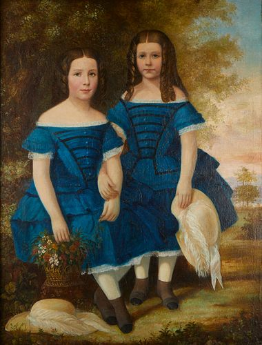 Traditional Double Portrait of Two Girls in Blue Dresses