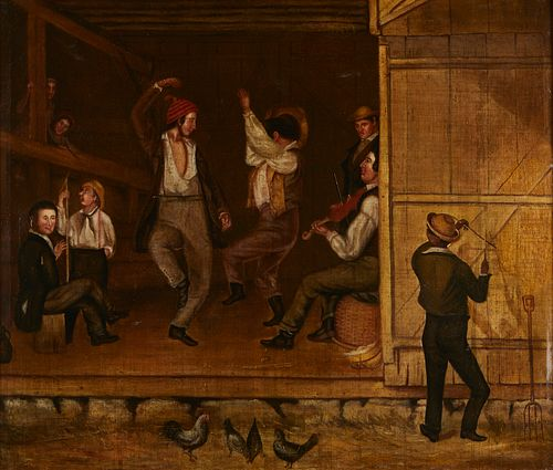 19th c. American School Barn Dance Painting