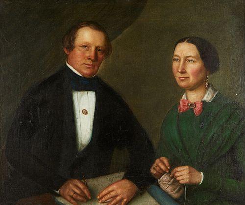 19th c. American School Double Portrait Oil on Canvas on Aluminum