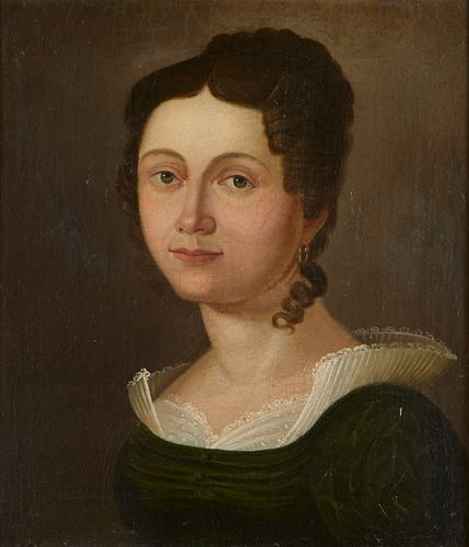19th c. Continental School Painting Portrait of Woman