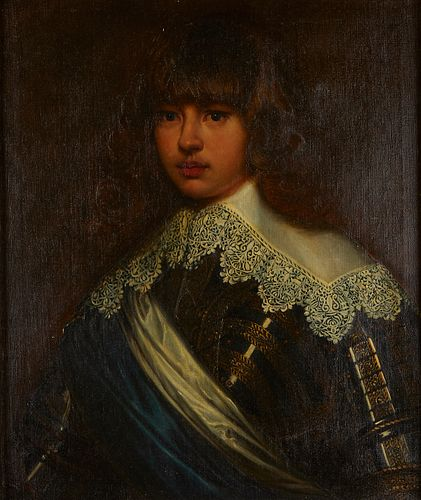 19th c. Continental School Painting Portrait of Young Gentleman