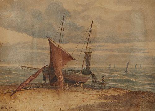 Continental School Coastal Scene Watercolor