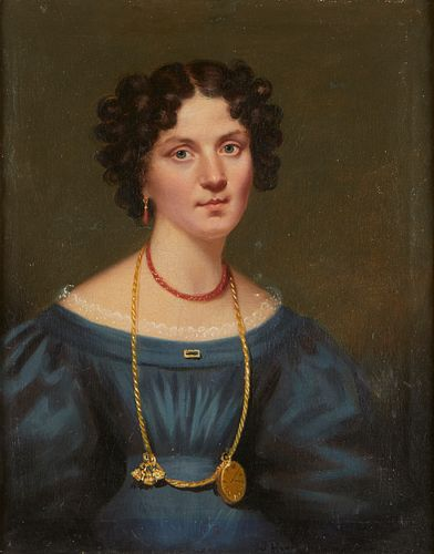 19th c. Continental School Portrait of Woman Painting