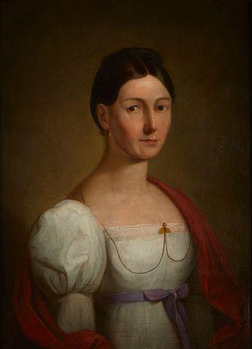 19th c. English School Portrait of Lady Painting