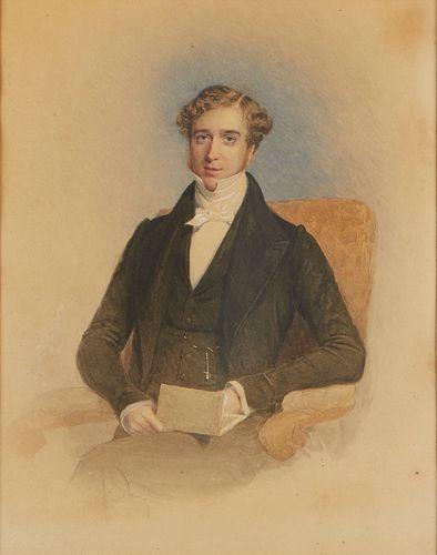 19th c. English School Seated Gentleman Watercolor