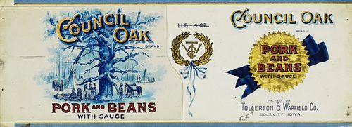 1900 Original Art Iowa Company Beans Can Label