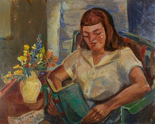 Elizabeth Grant WPA Woman Reading Oil on Board