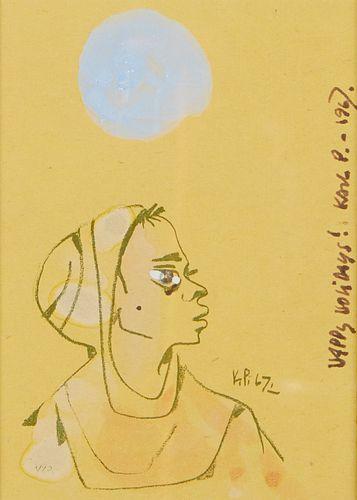 "Karl Priebe ""Happy Holidays!"" Painting on Print 1967"