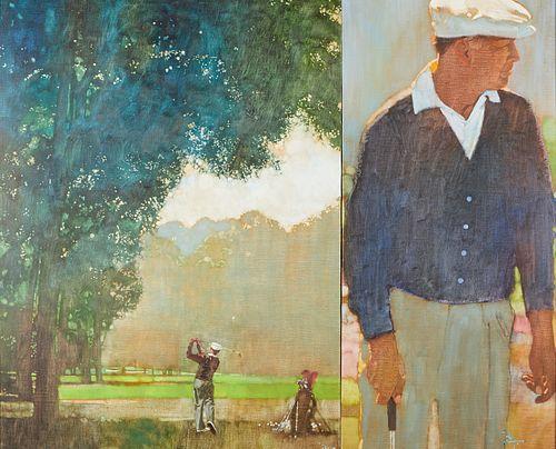 "Bernie Fuchs ""Golfer, Ben Hogan"" Oil on Canvas"