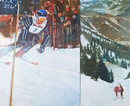 """Bernie Fuchs """"Skiing"""" Oil on Canvas Diptych"""