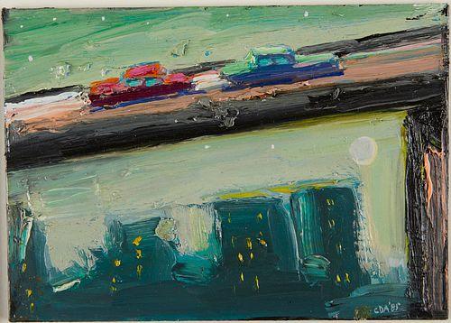 "Carlos Almaraz ""Diagonal Traffic in Mint Green"" Oil on Board"