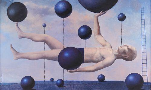 """Alexander Gorenstein """"Equilibrium"""" Oil on Canvas"""