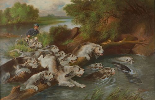Henry Carling Hunting Scene Pastel on Canvas