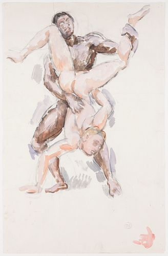 """Duncan Grant """"Hercules and Diomedes"""" Charcoal & Gouache"""
