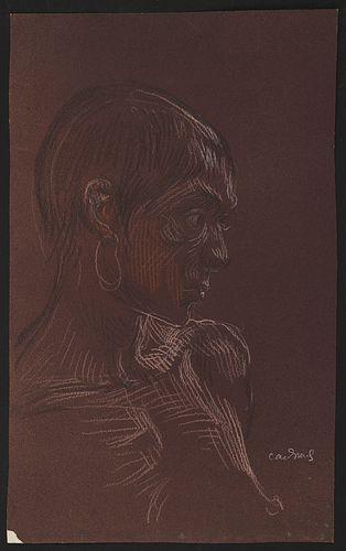 Paul Cadmus Portrait Crayon Drawing on Paper