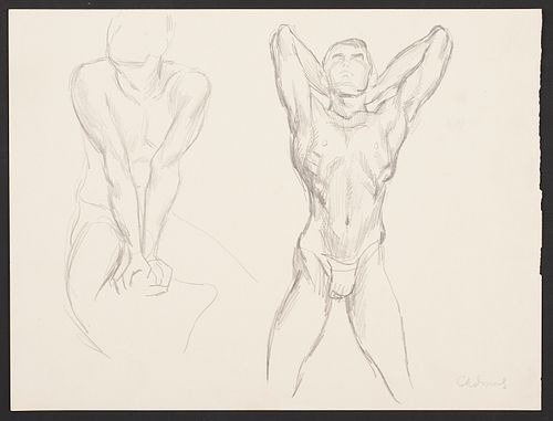 Paul Cadmus Two Male Nude Figures Graphite on Paper