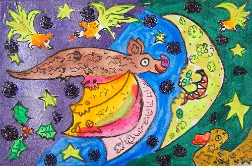 "Maija Peeples-Bright ""Holly Bat"" Hand Enhanced Print"