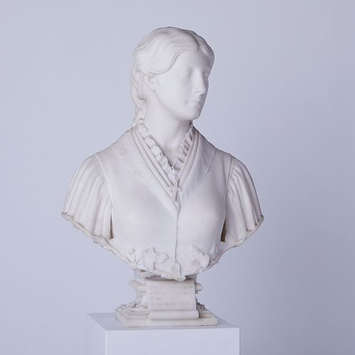 Preston Powers Bust of Woman Marble Sculpture