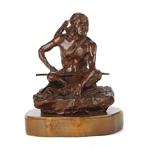 After CM Russell Native American Bronze Sculpture