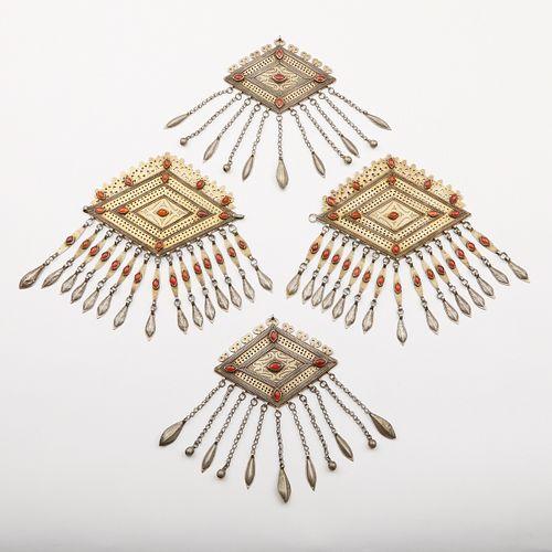 Grp: 4 Turkmen & Afghani Silver Amulet Pendants