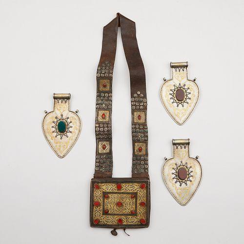 Grp: 4 Turkmen & Afghani Silver Pendants & Leather Pouch