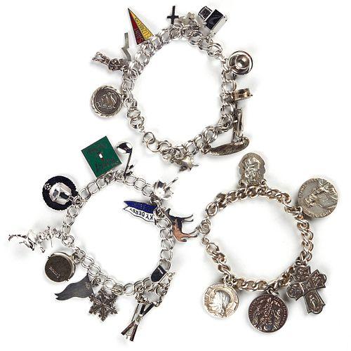 Grp: 3 Sterling Silver Charm Bracelets
