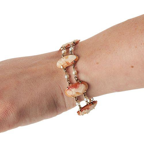 14K Gold Cameo Pearl Bracelet