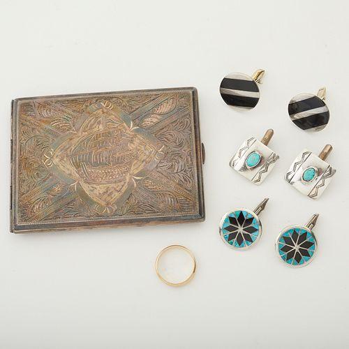 Grp: Silver & Gold Jewelry & Cigarette Case