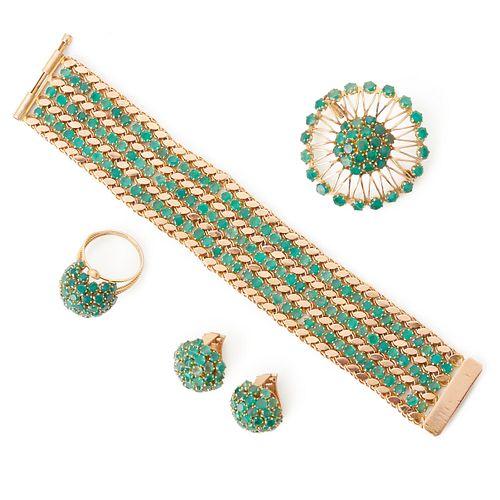 Grp: 14K Gold Green Garnet Cluster Jewelry