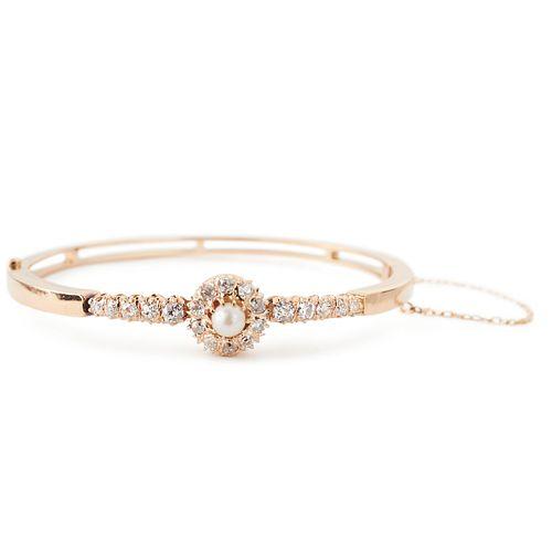 14K Gold Diamond Pearl Bracelet