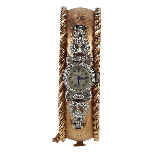14K Gold Diamond Watch Bangle