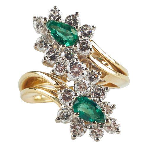 18K Gold Emerald & Diamond Bypass Ring