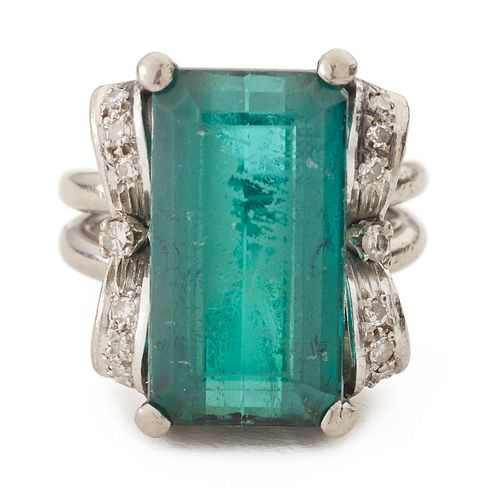 Platinum Green Tourmaline & Diamond Ring