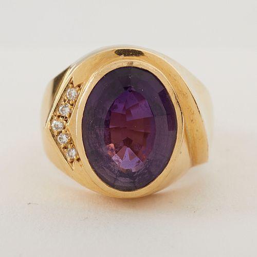 14K Gold Amethyst & Diamond Ring