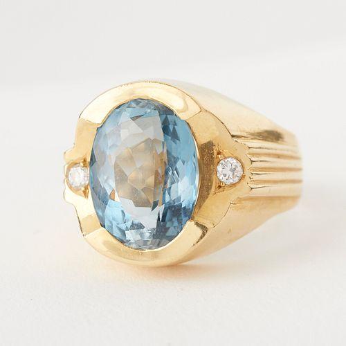 18K Gold Sapphire & Diamond Ring
