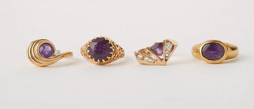 Grp: 4 Women's Gold Amethyst Rings